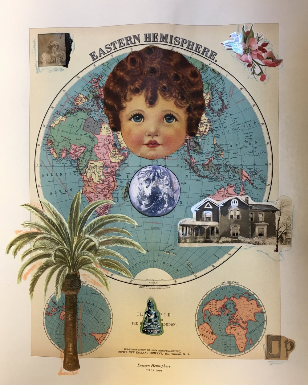 """Eastern Hemisphere"" by Jacque Parsley, 20x17x1in, mixed media collage (2016), $300 