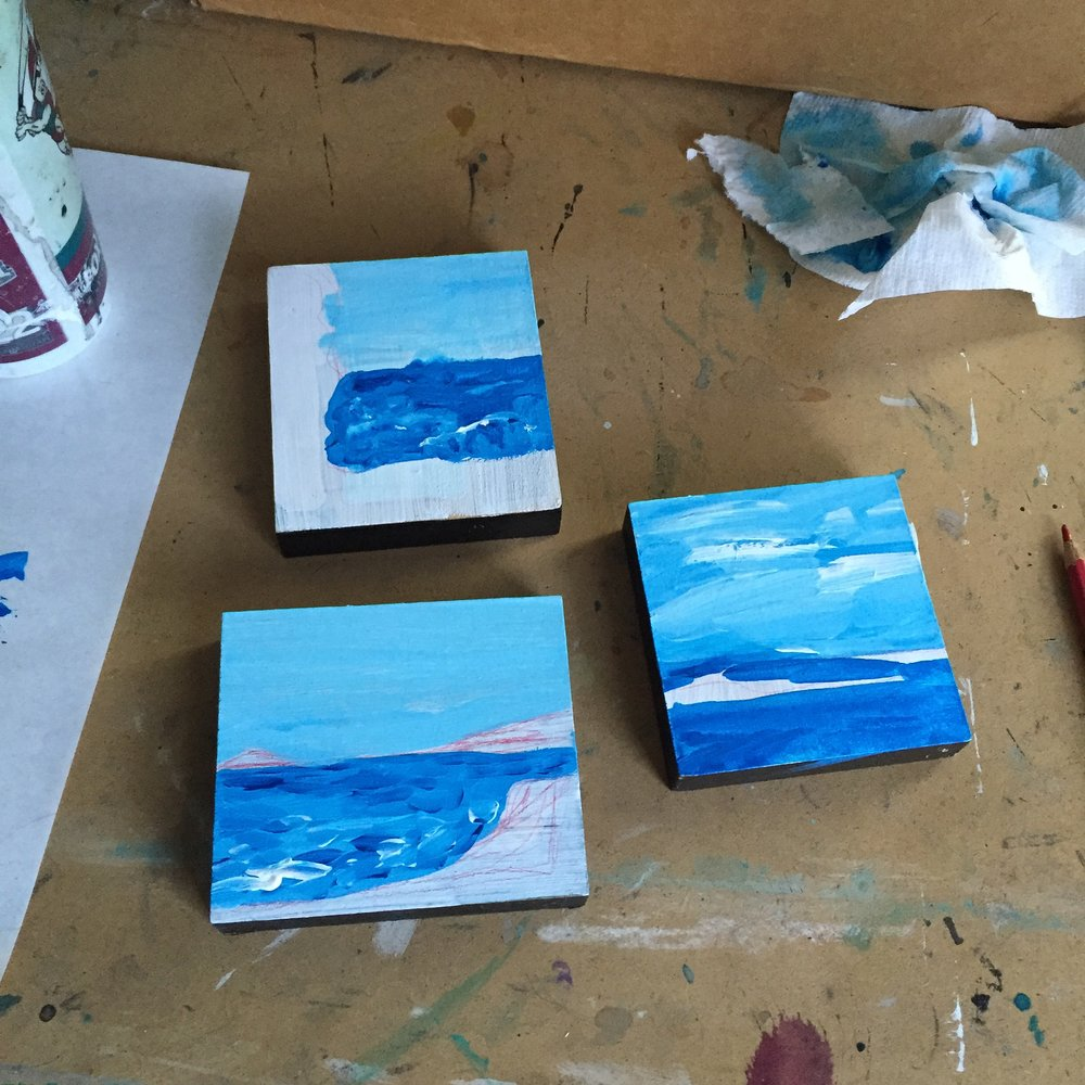 """Paintings of Maine (In Progress)"" by Jennifer Palmer, mixed media on poplar (2016)"