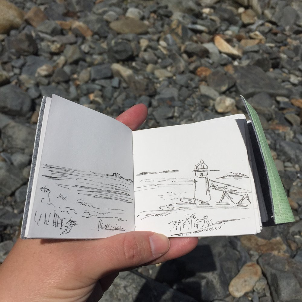 """Maine Traveling Sketchbook"" by Jennifer Palmer, ink on paper (2016)"