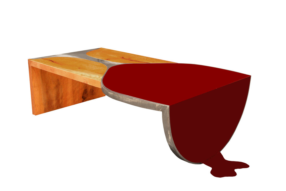 """Red Wine & Walnut"" by Andy Cook, mild steel and walnut wood coffee table (2016)"