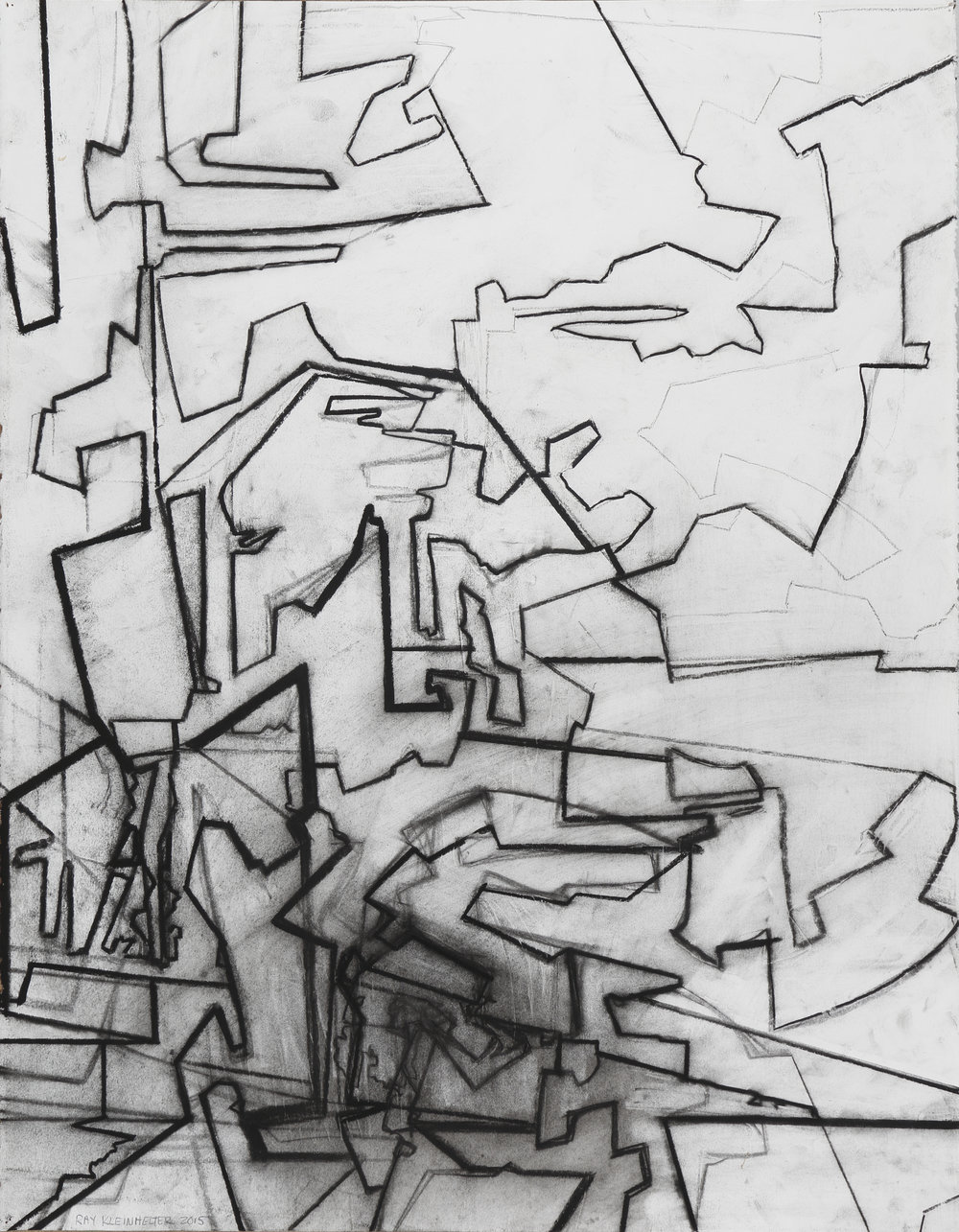 """Landscape Variation #4"" by Ray Kleinhelter, 22.5x30in, charcoal on Stonehenge paper (2016)"