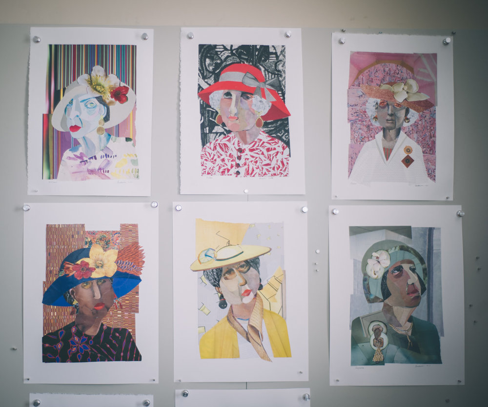 Various works hanging in Anderson's studio. Photo by Sarah Katherine Davis Photography for LVA.