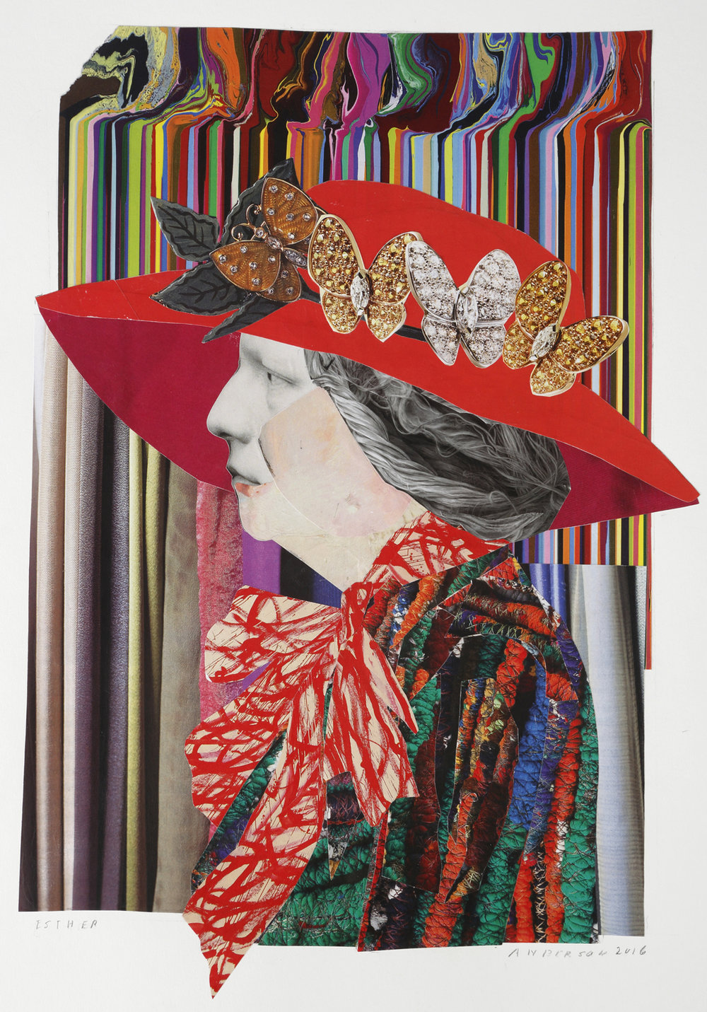 """Esther"" by Ann Stewart Anderson, 14x12in, paper mosaic (2016)"