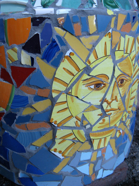 """Sun Stand"" by Ann Stewart Anderson, broken dish mosaic (2008) NFS"