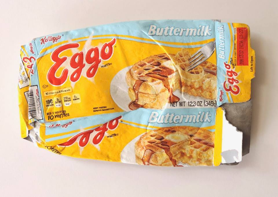 """Eggo"" by Tom Pfannerstill, acrylic and/or enamel on carved basswood (2016)"
