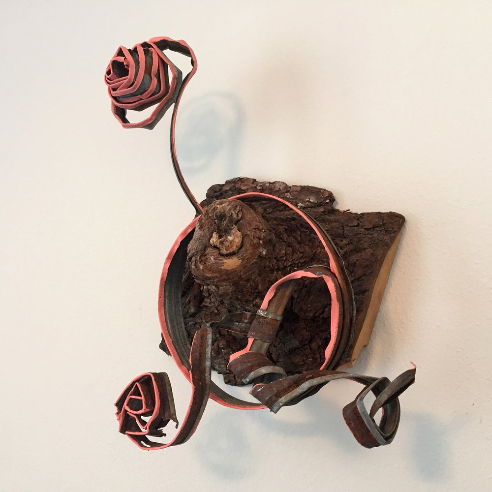 """Unravel"" by Jonny Gilroy, black walnut, steel, acrylic, $350 