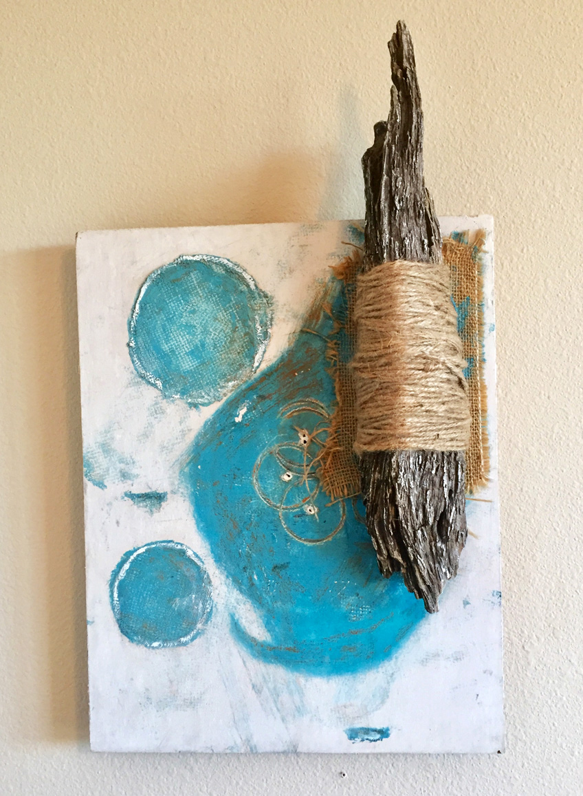"""Attach"" by Jonny Gilroy, birch board, driftwood, twine, acrylic, burlap, $380 