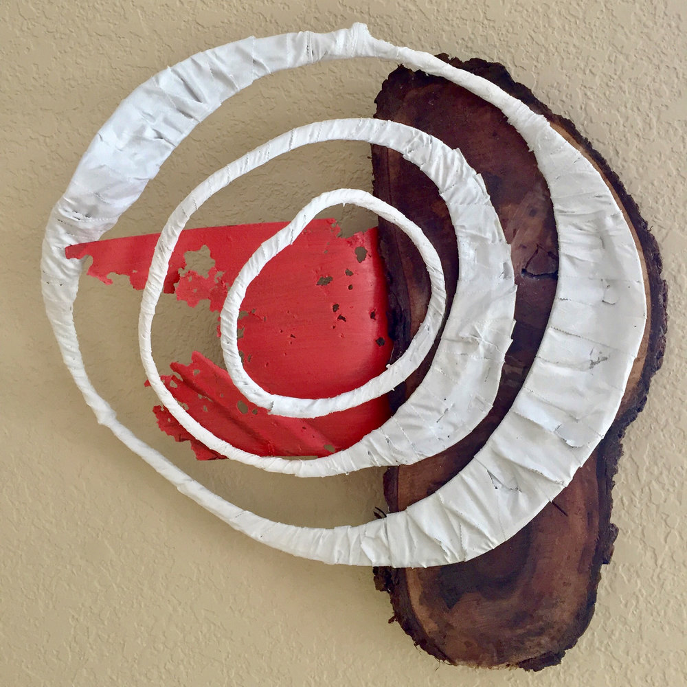 """Resonate"" by Jonny Gilroy, black walnut, tape, wire, steel, acrylic, $280 