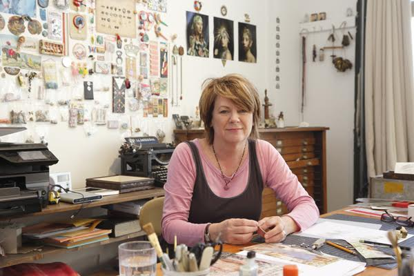 A photograph of Caroline Waite in her studio.