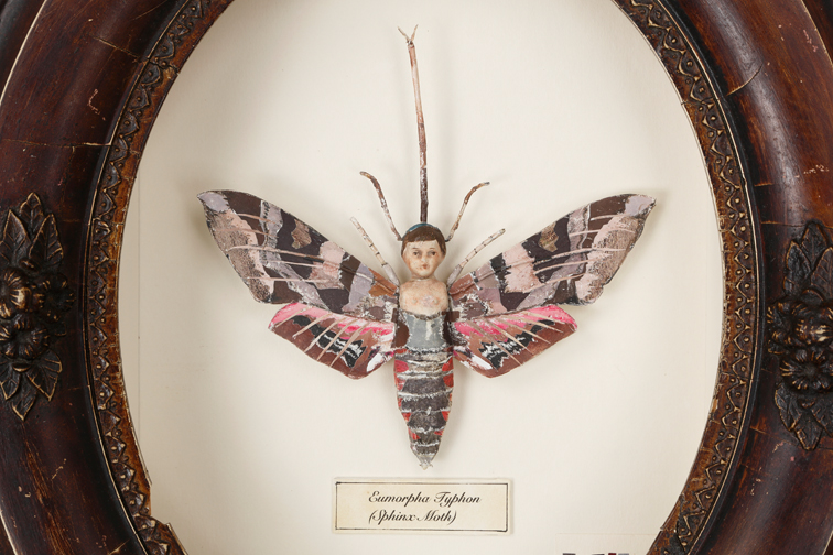 """'Sphinx' (detail)"" by Caroline Waite, 14x12x2.5in, antique doll, paper collage, wire in antique repurposed frame, $600 