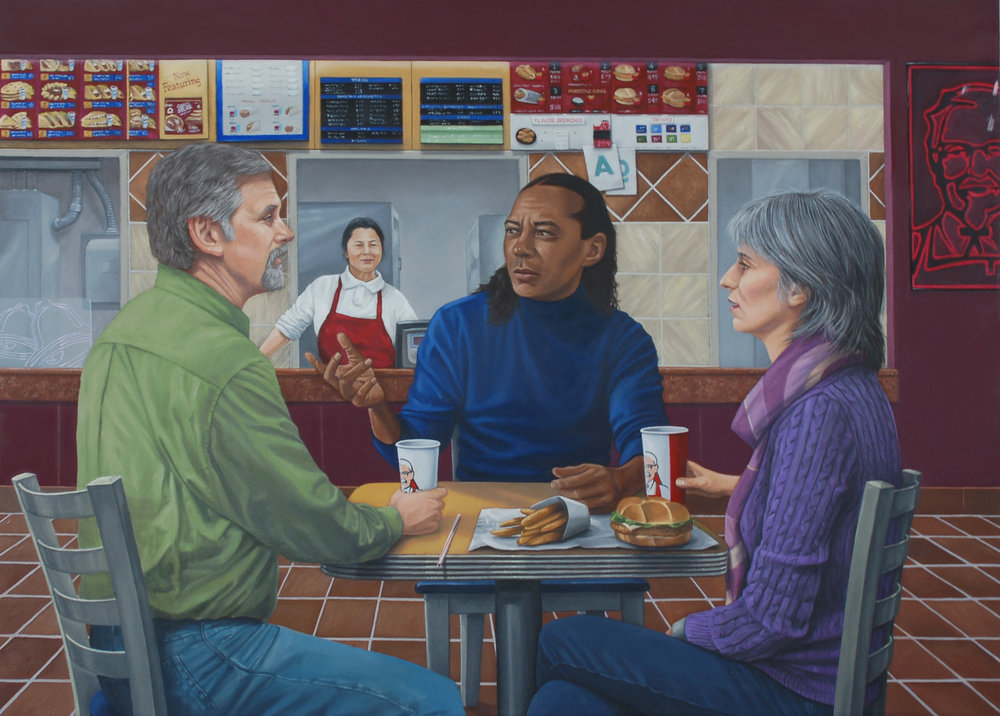 """Supper at Yummaus"" by Barry Motes, 36x48in, oil on canvas, $2400 