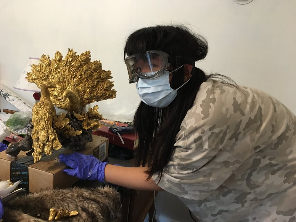 Zehui Ni at work in her studio.