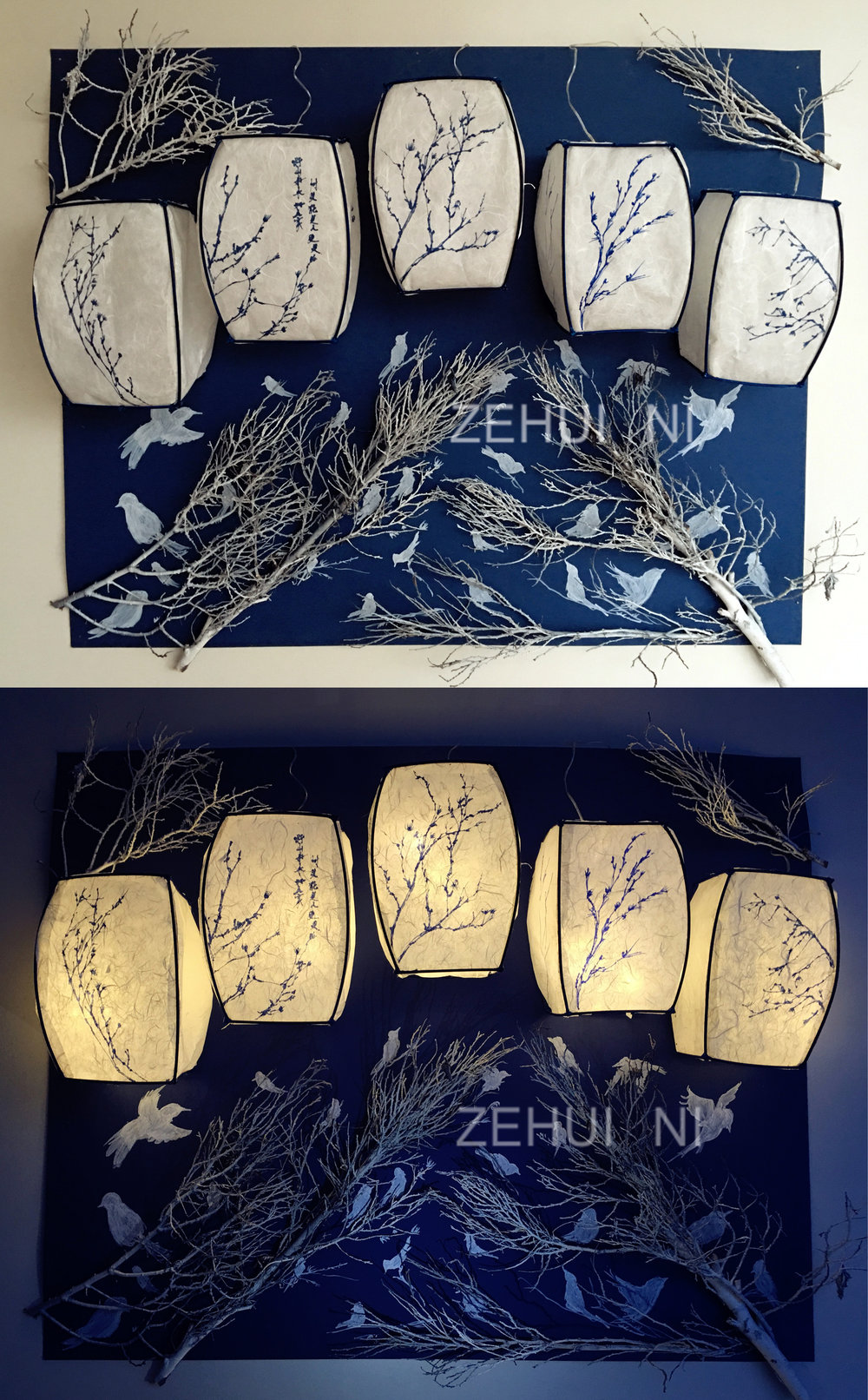 """Porcelain Nights"" by Zehui Ni, 40x10x20in, lights, battery, fishing lines, paper, marker, spray paint, mat board, bamboo cane