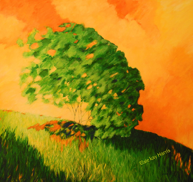 """Falling Tree"" by Elsie Harris, 30x32in, acrylic on canvas, $760 