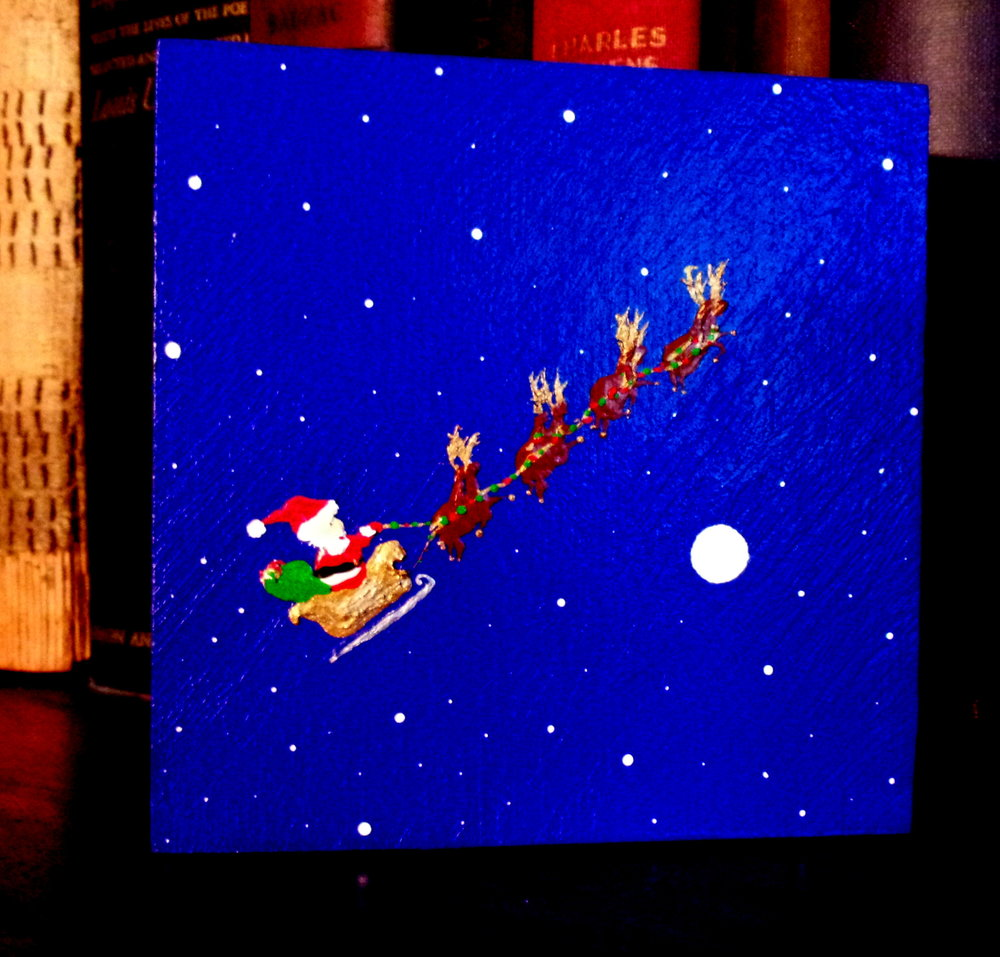 """Santa, Sled, and Reindeer (Scenes Of The Seasons)"" by Kevin Oechsli, Mini Painting, Acrylic on Wood (2016), $30 