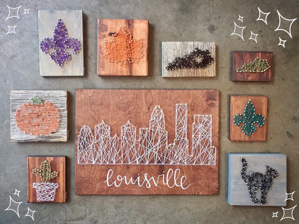 Various Works  by Wood & Twine, wood, string (2016)