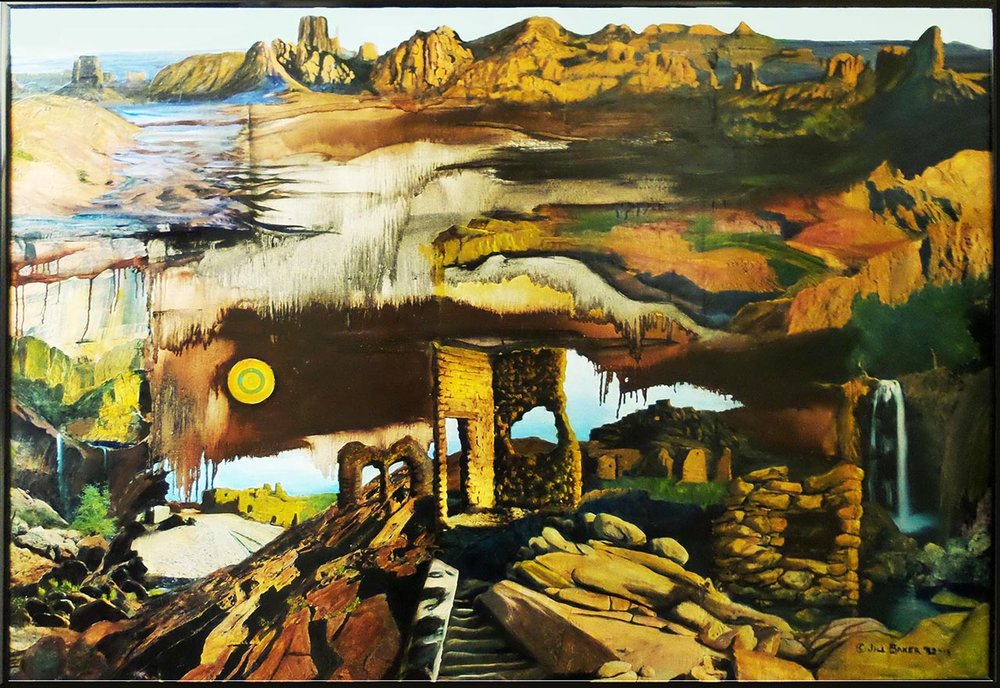 """Arizona"" by Jill Baker, 60x43in, oil, collage, $5000 