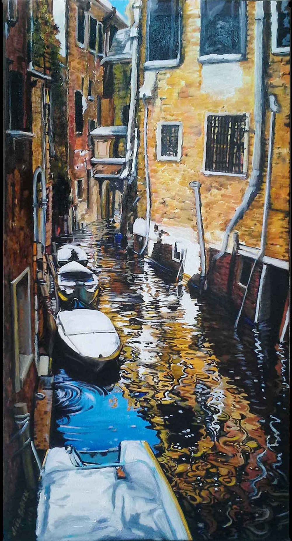 """Gondolas in the Snow"" by Jill Baker, 16x30in, oil, $5000 