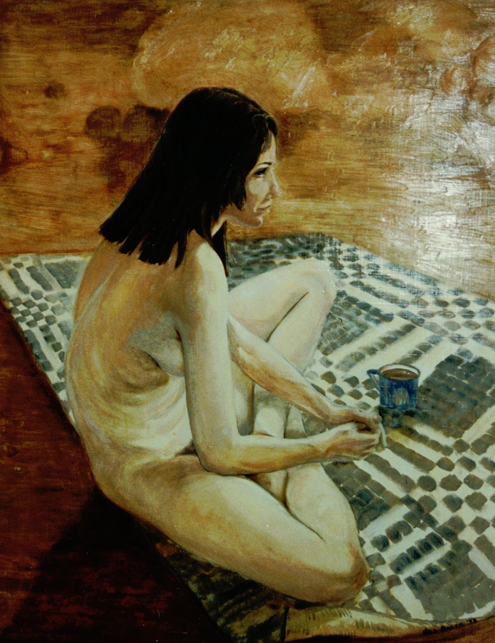 """Seated on Rug"" by Jill Baker, 36x48in, oil, $5000 