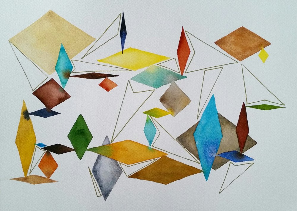 """Diamonds"" by Jessica Olberz Singleton, 10x14in, watercolor and ink, $50 (unframed) 