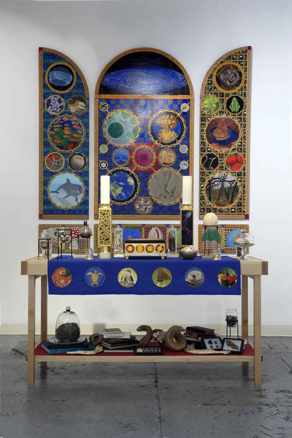 """Chapel"" by Wendi Smith, Altarpiece: 73.5""H x 86""W (installed), Altar table: 36""H x 72""W x 24""D (2016), $15,000 for the entire installation 