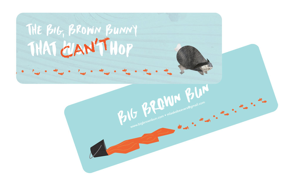 """Big, Brown Bunny That Can't (Won't) Hop"" by Monica Beavers, book marks, mixed media/illustrated book (2016)"