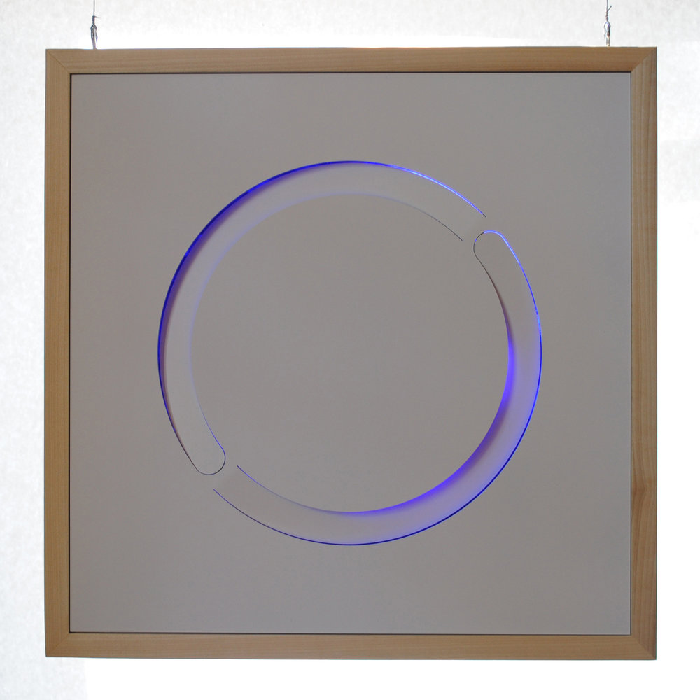 """Sweet Camille's Halo"" by Steve Heine, 18x18x2in, laser-cut steel, blue handblown sheet glass, poplar, one of a series of ""Cloud Panels"" (2015), $2700 