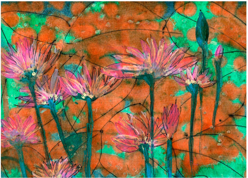 """Water Lilies"" by Julie Rowling, 9x11in, liquid water color and pen and ink on cold press water color paper (2016), $125 (matted & framed) 