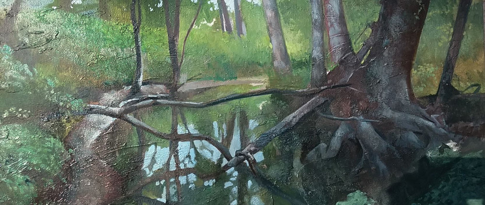 """Beckley Creek Park"" by Victor Sweatt, 15x30in, oil on canvas (2016), $1500 