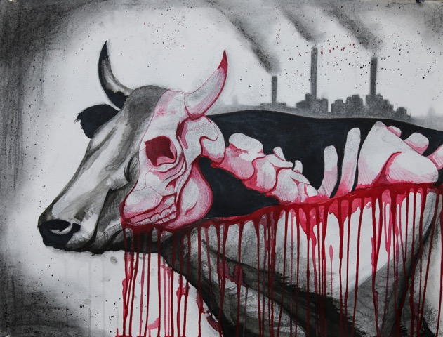 """Bull"" by Damien Vines, 22x28in, charcoal and ink (2015), $80 