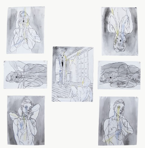 """Drawings (series)"" by Damien Vines, 8.5x11in,  dry point prints and watercolor  (2016), $120 