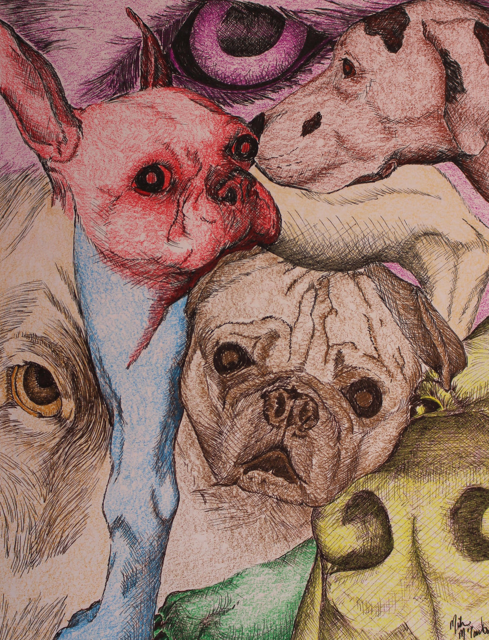 """Dog Collage"" by Mike McCarthy, 8x10in, hand colored print (#2), $65 
