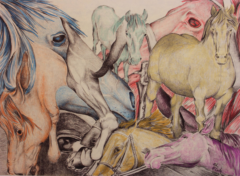 """Horse Collage"" by Mike McCarthy, 7x9.5in, hand colored print (#5), $50 