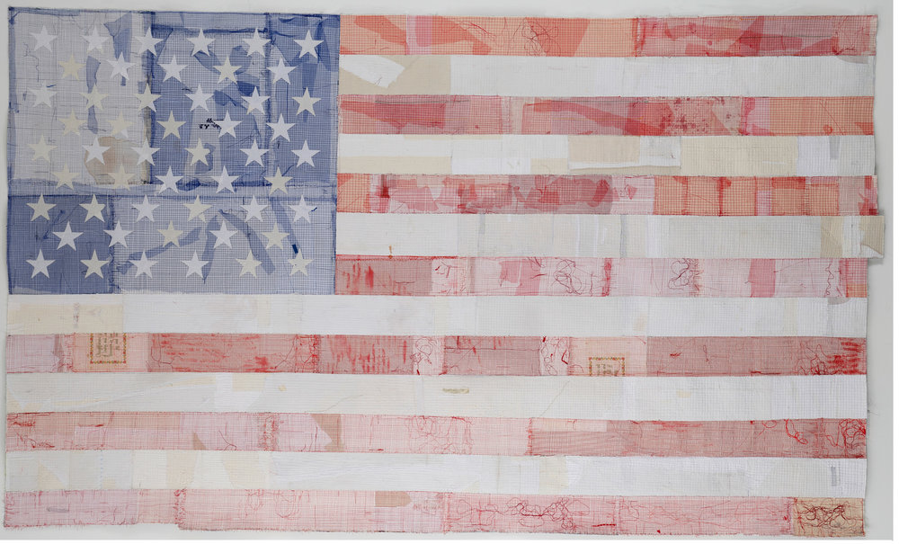 """Fading"" by Kathleen Loomis, 59x99in, fiber (2016) $8000 