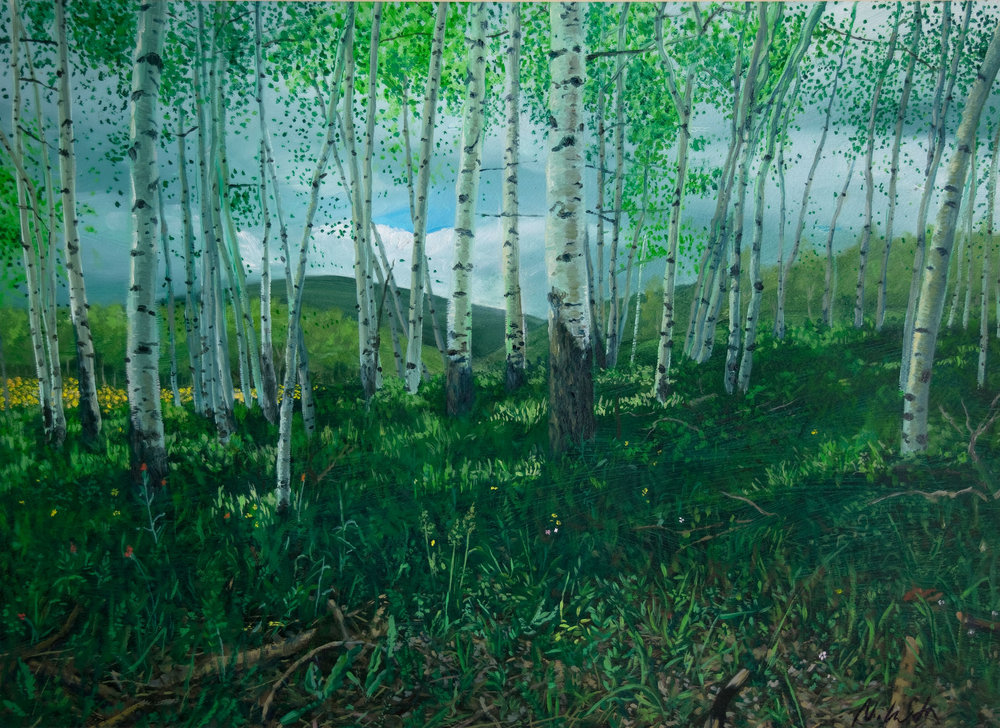 """Colorado Aspen"" by Nikita Krivoshey, 20x17in, oil on paper (2013), $400 