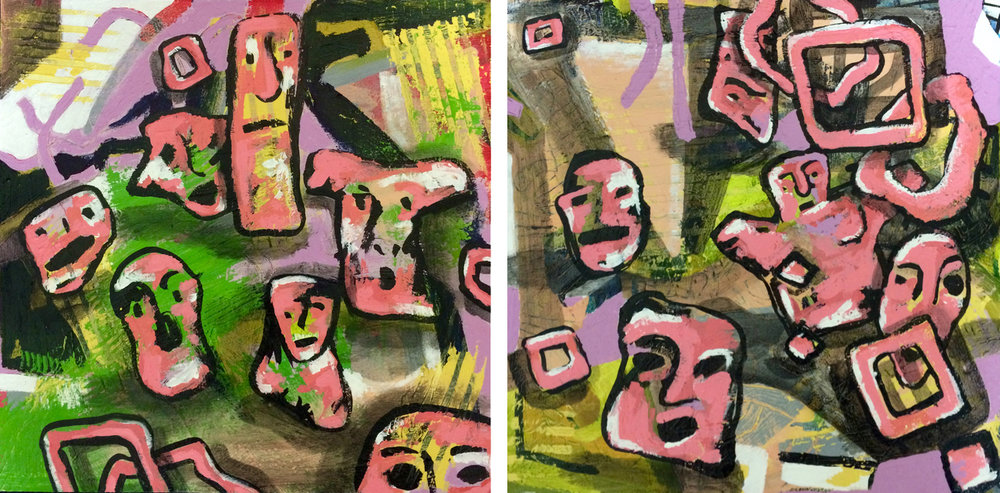 """Vamoose (diptych)"" by Kayla Bischoff, 10x10in (each), acrylic on panel (2015) $275 