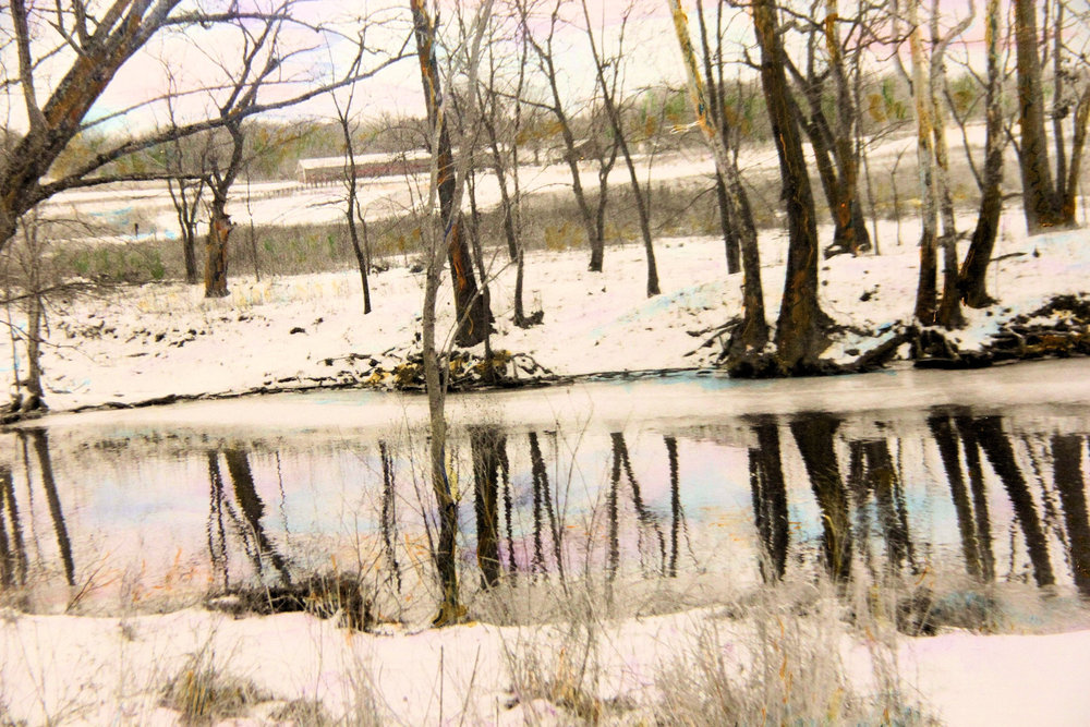 """Parklands of Floyd's Fork in Winter"" by Judy Rosati, 16x20in, hand colored silver gelatin photograph (2015)"