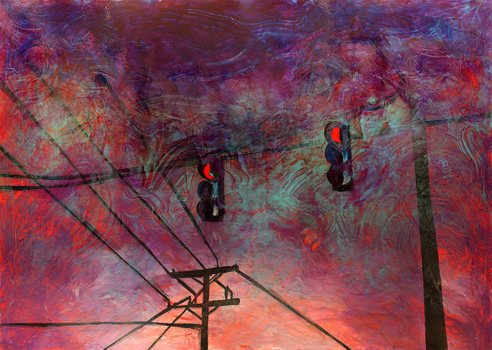 """Stoplights"" by Lennon Michalski, 72 x 108 in, water based pigment and mix medium on canvas (2016)"