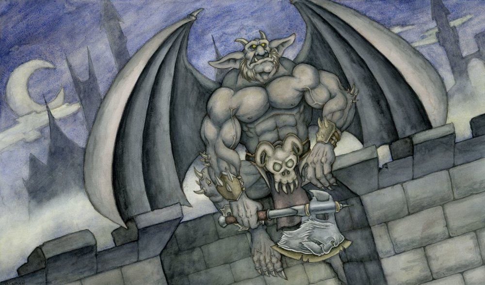 """Guardian of the Ramparts"" by Darrenn Canton, 14x24in, watercolor, colored pencil, gouache (2016)"