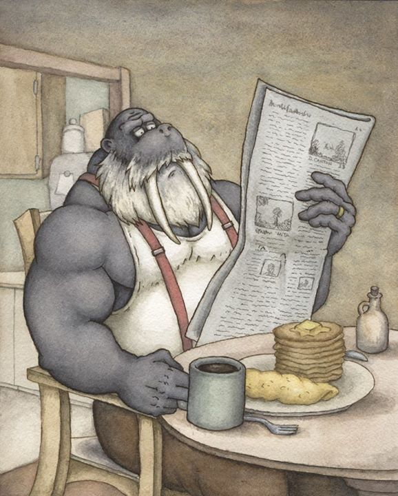 """Breakfast'"" by Darrenn Canton, 9x12in, ink, watercolor & gouache (2013), $150 