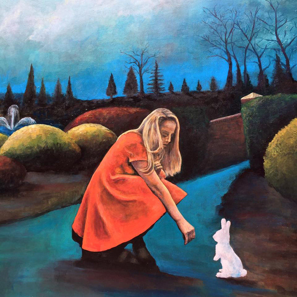 """The White Rabbit"" by Jacqlynn Hamilton, 48x48in, acrylic on panel board (2016) $875 