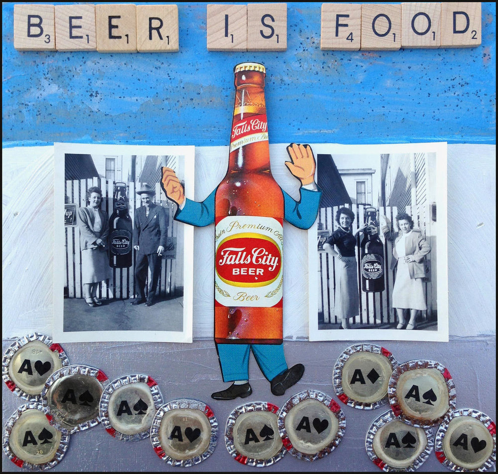 """Beer Is Food"" by Patrick Donley, 8x8in, mixed media on wood (2016)"