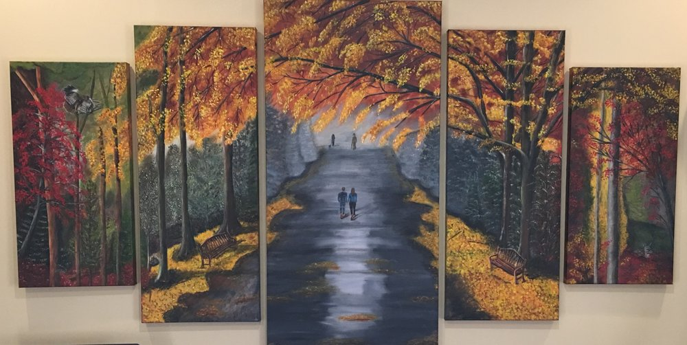 """Fall Together"" by Teresa McCarthy, 60x40in (polyptch), oil on canvas (2016), $1400 