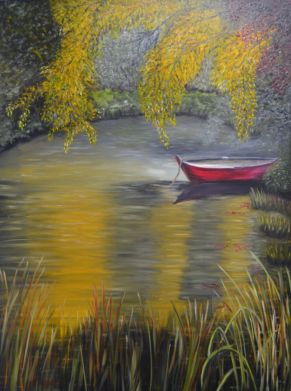 """Canoe On Golden Pond"" by Teresa McCarthy, 30x40in, oil on canvas (2016)"