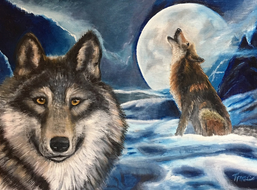 """Winter Wolf with Full Moon"" by Teresa McCarthy, 18x24in, oil on canvas (2016)"
