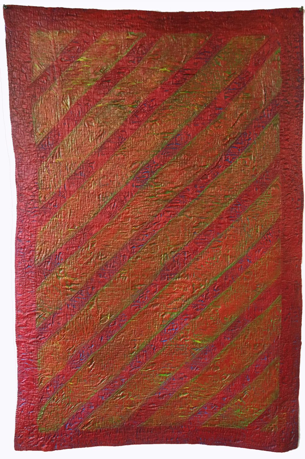 """Red Basketweave"" by Denise Furnish, 56x37in, worn and discarded flower basket crib quilt, acrylic, $1200 
