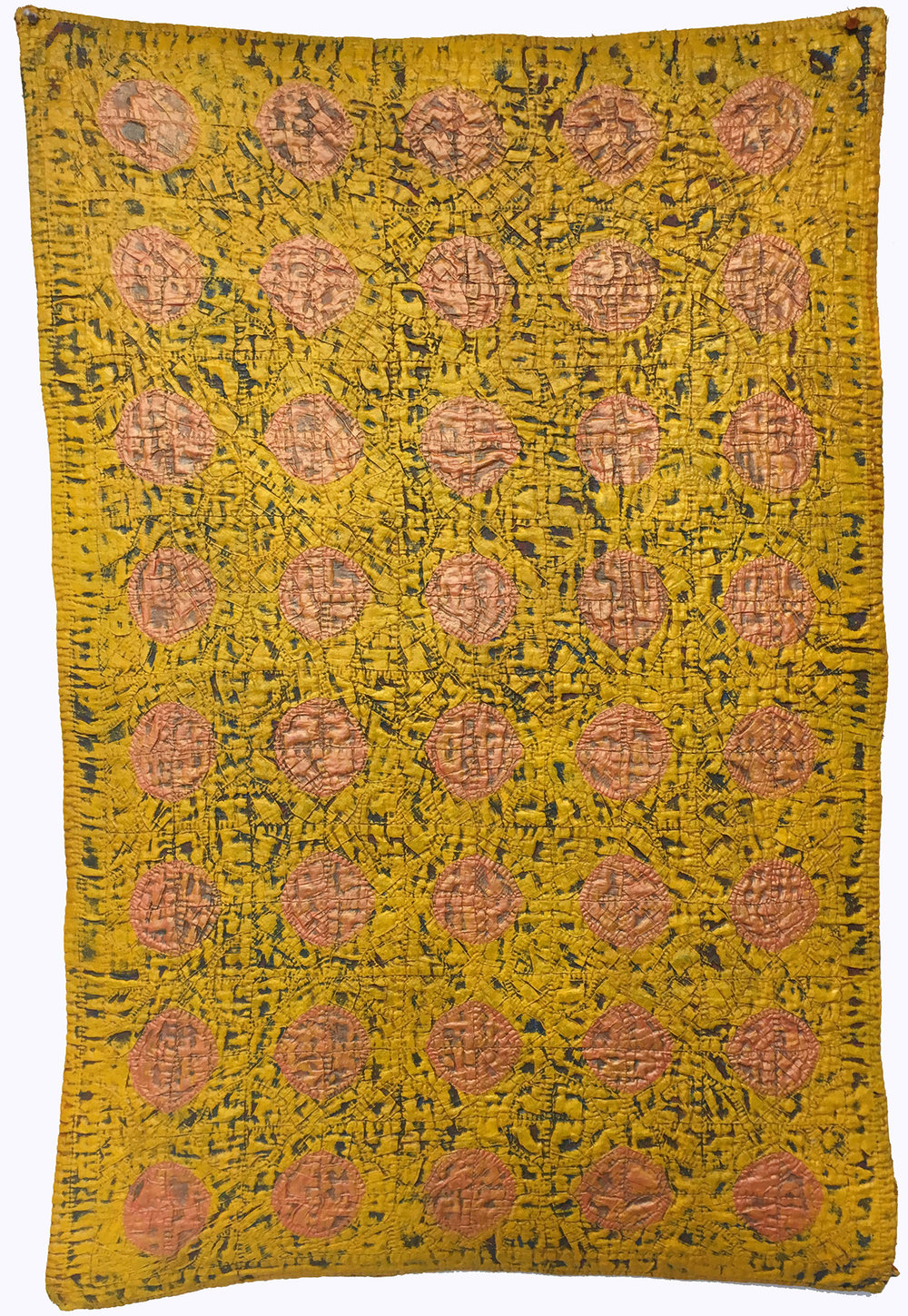 """FIreball"" by Denise Furnish, 43x29in, discarded fireball crib quilt, acrylic, $1200