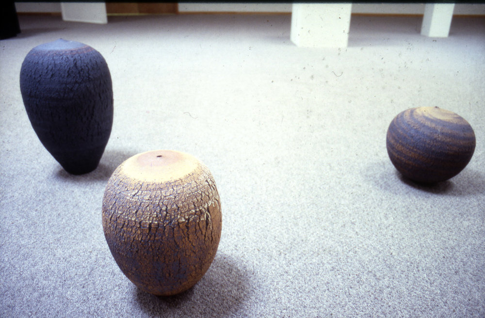 Works by Marsh Pottery, Install Image from UofL Faculty show (1984) . Photograph courtesy of the Hite Art Institute.