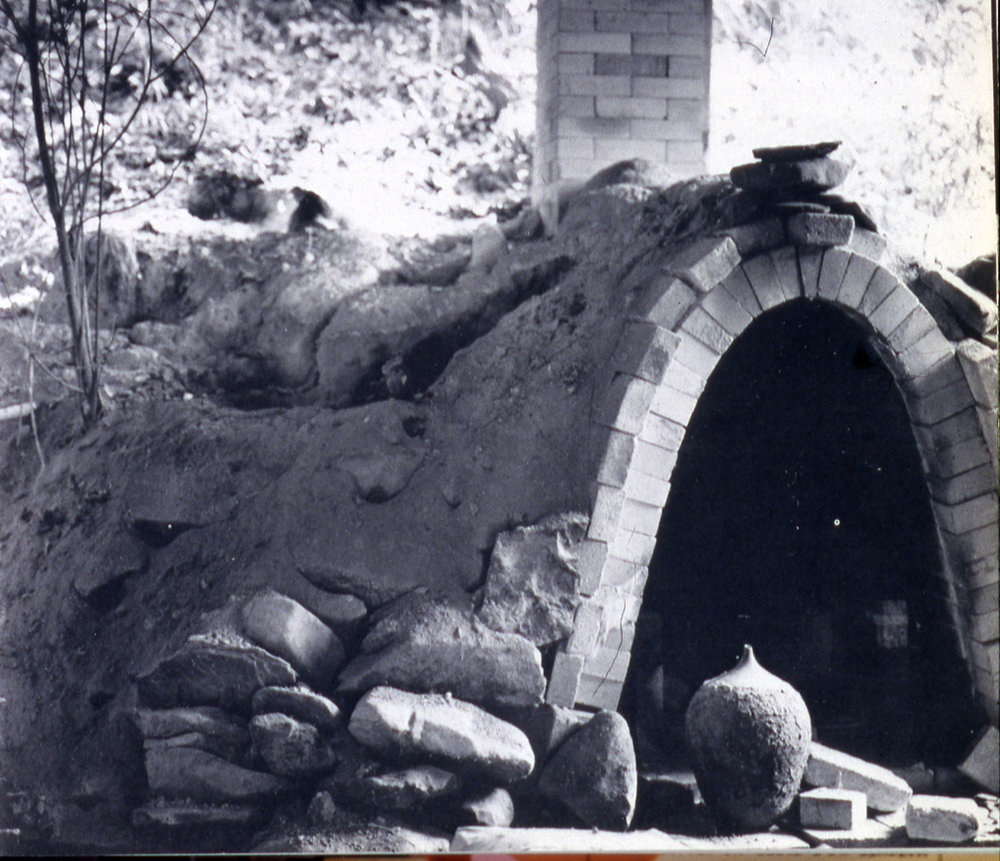 The Marsh's 30 cubic foot cross draft salt kiln (c.1979). Photograph courtesy of the Hite Art Institute.