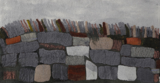 """Gray Day along the Pike"" by Vallorie Henderson, 14.5x28in, hand-dyed and felted Merino wool with silk organza, machine stitching, $625 